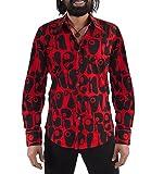 70er Jahre Partyhemd Rot Schwarz Hippie Look M