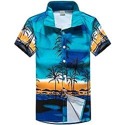 Camisa Hawaiana para Hombre, Manga Corta, Diseño de Palmeras, para la Playa, Fiestas, Verano y Vacaciones Gusspower