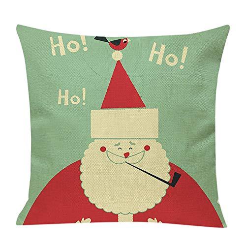 Fenverk Weihnachten Kissenbezug Merry Christmas bettwäsche deko Kissenbezug Elch Weihnachtsmann Glocke Elf Rentier Rudolph Weihnachtsmann Sofa kissenhuelle 45x45cm(G)