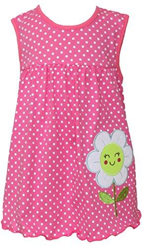 Sommer SALE! Sommerkleid | Shirt-Kleid Pincess Taufkleid Modell 11 rosa gepunktet mit grüner Blume