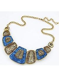 6a4bc7851353 MUATE Collier Femme Collar declaración Collares declaración Gargantilla  joyería India Mujer Marca Chunky Vintage Collares y Colgantes…