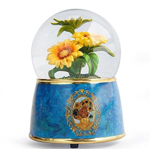 YOIL Regalo Squisito e Grazioso Van Gogh Creative Crystal Ball Music Box Resina Ornamenti per regalo di compleanno-girasole