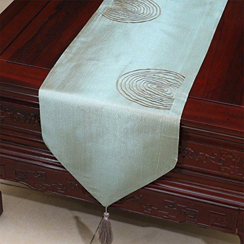 YXX- Style Européen Broderie Table Courte Table À Manger Bureau De Thé Shoebox TV Cabinet Machine À Laver Nappe Couverture Serviette ( Couleur : Bleu , taille : 33*200cm )