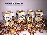 Teelicht 4 er Set Rustikal Bayrisch Licht Herz Hänger aus Holz mit Karo Muster