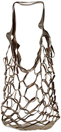 O bag rete in pelle minichic, borsa a tracolla donna, grigio, 11x37x34 cm (w x h x l)