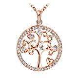 "Rose Gold Necklace, Personalised Necklace, J.Ros�e Jewellery Pendant with 925 Sterling Silver 3A Cubic Zirconia Rose Gold Tree of Life,18+2"" Extender, Graduation Gifts"