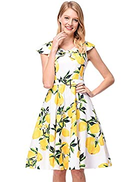 SJMMQZ Estilo retro, gran falda, primavera, verano, las nuevas mujeres de vestido estampado.