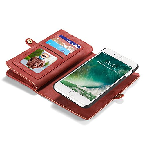 CaseMe Leather Wallet Case for iPhone 7 Plus with Detachable Folio, Card Slots, Cash Slots, Magnetic Buttons Red