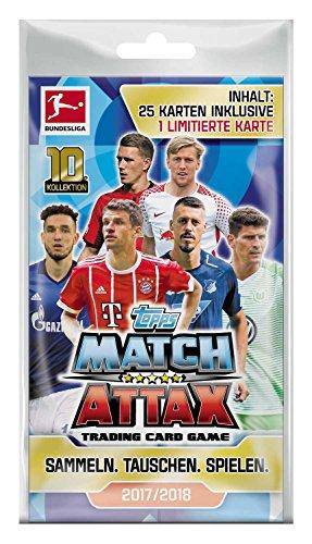 Topps D106118 Match Attax Sammelkarten Bundesligasaison 2017/18, Blister mit 25 Karten