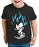 Super Vegeta T-Shirt pour enfants Goku Dragon Master Ball Vegeta Turtle Roshi Db, Farbe2:Schwarz/Blau;Kinder T-Shirt Größe:110/116