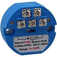 Yibuy PT100 - Transmisor de Sensor de Temperatura (0 a 150 °C, 24 V), Color Azul