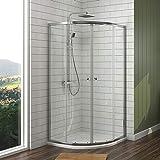 EMKE Duschkabine 80x80 cm Viertelkreis Duschabtrennung Schiebetür Duschtrennwand Duschtür Eckeinstieg
