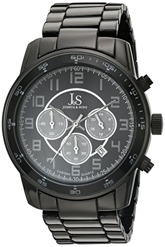 Joshua & Sons Men's JS67BK Black Multifunction Quartz Watch with Black Dial and Black Bracelet