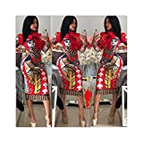 Women's Fashion Print Bandage Bodycon Long Sleeve Party Cocktail Club Short Dress Slimmer Stylish Casual Spring Red XXL