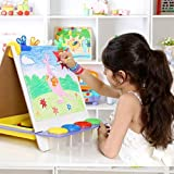 FunBlast Adjustable Wooden Easel Board for Drawing,Painting White & Black Chalk Board Learning