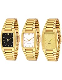 Knack KNK-GL30 Combo Of Golden Plated Casual Black, Professional White And Premium Looking Golden Watch For Boys...