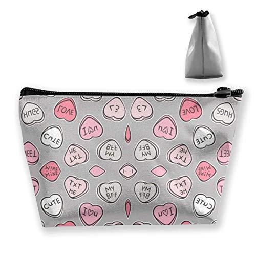 Süßigkeiten Herzen Valentine Love Reise Make-Up Tasche Kosmetiktasche Organizer Aufbewahrungstasche Für Frauen Schönheit (Herzen Süßigkeiten Benutzerdefinierte)