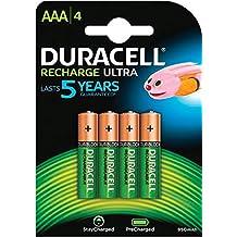 Duracell Ultra Pilas Recargables AAA 850 mAh, paquete de 4