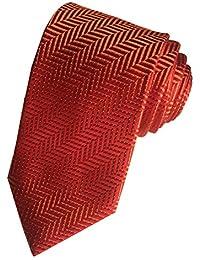 DUCHAMP London Mens 100% Silk Neck Tie Necktie Red Orange Herringbone