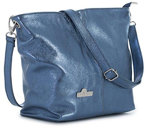 LiaTalia Damen Italienische mittelgroße Hobo Schultertasche aus echtem Leder mit einer Staubschutztasche - Adal - Metallische Blau (Petite Hobo Handtasche)