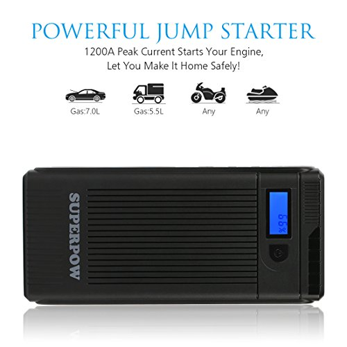 Leelbox 1200A Tragbare Auto Starthilfe Batterie, Auto Jump Starter mit QC3.0 Ausgang und LED Taschenlampe