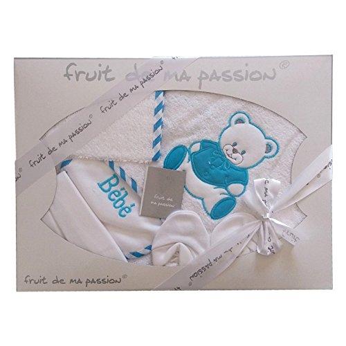 Regalo di nascita - Cofanetto di Bagnetto di nascita bambino 5 pezzi di qualità fabbricazione europea - Colori a