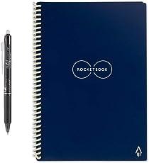 Rocketbook Everlast Wiederverwendbares Notizbuch - Executive A5 - Mitternachtsblau - Notizen mit der iOS-/Android-App hochladen - Dotted/Blanko Notziblock/Collegeblock/Notizheft