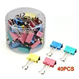 Best Office Supplies - 40pcs 19mm Colored Binder Clips Home Office School Review