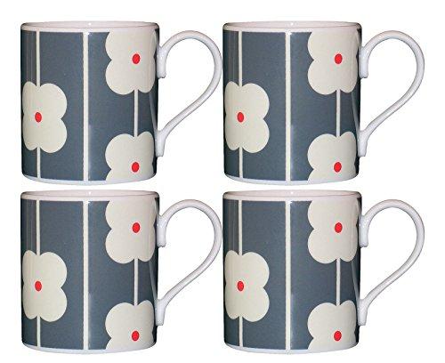 Orla Kiely Lot de 4 Mugs Motif fleurs de table en ardoise