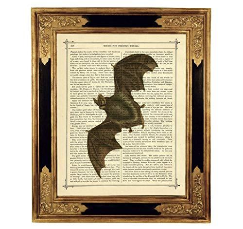 Fledermaus Halloween Deko Vampir Poster Kunstdruck auf viktorianischer Buchseite Geschenk Gothic Steampunk ungerahmt