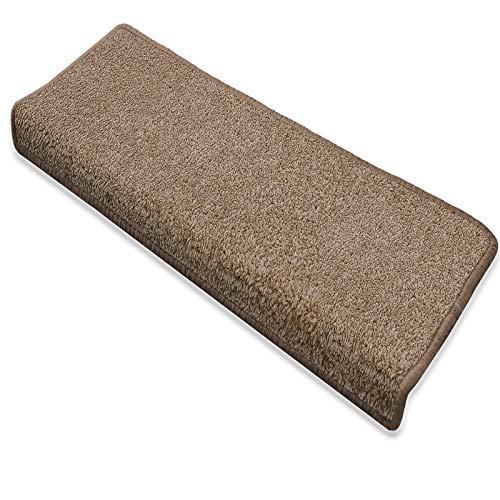 Floordirekt Stufenmatte Dynasty Velours | Halbrund oder eckig | Schutz für Treppenstufen | weicher Hochflor | In 3 zusätzlichen Farben (Stufenmatte rechteckig 15 Stück, Hellbraun)