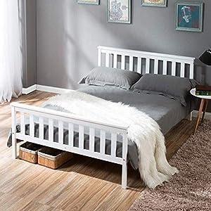 ModernLuxe Doppelbett 140x200 cm, Holzbett aus Bettgestell mit Lattenrost Futonbett mit Kopfteil - Massivholzbett Kiefer Massiv Bett Weiß lackiert Gästebett Bett Weiss Jugendbett