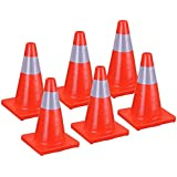 """ReaseJoy 18""""(450mm) Fluorescent Red PVC Road Traffic Cone with Reflective Strip Safety Parking Cones set of 6pcs"""