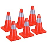 ReaseJoy 18'(450mm) Fluorescent Red PVC Road Traffic Cone with Reflective Strip Safety Parking Cones set of 6pcs