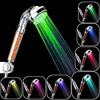 LED Shower Head, InGoo 7 Colors Changing Light Handheld High Pressure Spa Shower Head Negative Ion Sprinkler and Chlorine Double Filter Saving Water Showerhead