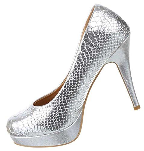 Damen Schuhe Pumps Plateau High Heels Snake Style Stilettos Silber