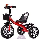 Minmin Bicicleta Triciclo para niños 3-6 años de Edad Bicicleta Bicicleta Cochecito Infantil Cochecito de niño (Color : Red)