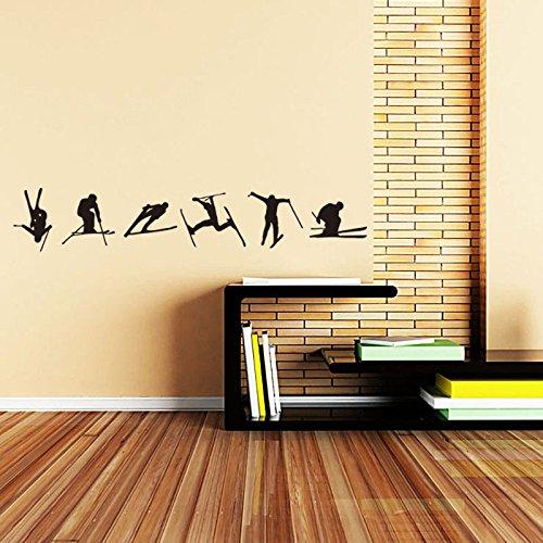 Wandaufkleber ZOZOSO Nordischen Stil geschnitzte Wandaufkleber Ski Sport Wohnzimmer Schlafzimmer Kinderzimmer selbstklebendes Papier -
