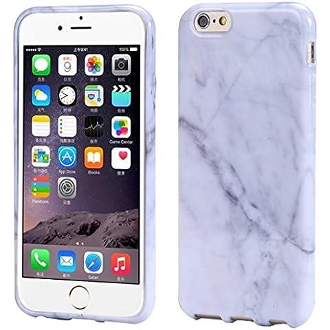Fortan Textura de mármol de impresión caso de la piel para el iPhone 6S 4,7 pulgadas- blanco