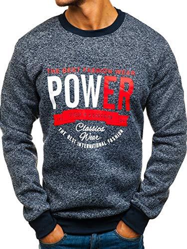 BOLF Herren Sweatshirt mit Aufdruck Pullover Pulli mit Rundhalsausschnitt RED Fireball HL8690 Dunkelblau M [1A1] | 05902646906126