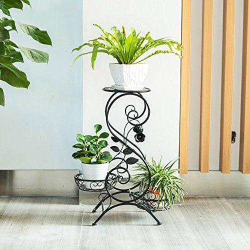 Lwjjhj stand di piante verdi piedistallo in metallo per vasi, a 3 ripiani,s-flach (3 colori) (colore : c)