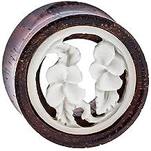 Madera Plug flores túnel de madera de tamarindo hueso embutido blanco Expander tribal tapones para los