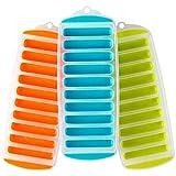 Botellas de Agua Bandejas de Hielo (3 Pack)- Silicona Libre de BPA Rectangulares Flexibles Bandejas de Hielo con 10 Cubos de Hielo Por Bandeja- Ideal para Botellas de Jugo, Cocteles- Colores Variados