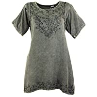 Guru-Shop, Embroidered Indian Hippie Top, Boho-chic Blouse, Anthracite, Synthetic, Size:14, Tops & T-shirts