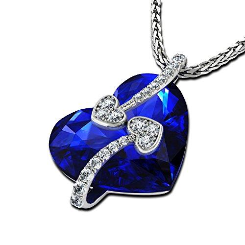 Dephini – ciondolo cuore – bellissimo collana con cuore blu con piccoli zirconi e catena in argento sterling 925 rodiato 45,7 cm cristalli swarovski® collana per le donne