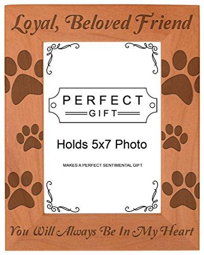 schmerzlichen Verlust Geschenk Verlust von Pet Paw Print natürliches Holz Gravur Bilderrahmen, holz, holz, 5x7 Vertical (Pet-bilderrahmen 5x7)