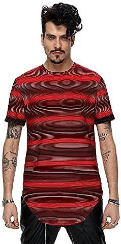 Pizoff Unisexe Hip Hop longues de base T-shirt affligé avec Batik imprimé floral Y1726-13-XXL