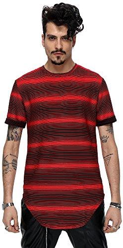 Pizoff Unisex Hip Hop Basic Langes Elastische T Shirts mit streiffen Muster Y1726-13