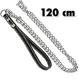 TradeShopTraesio® Kette für Hund Hundeleine Hunde 120cm mit Aufhänger Stahl und Griff aus Leder