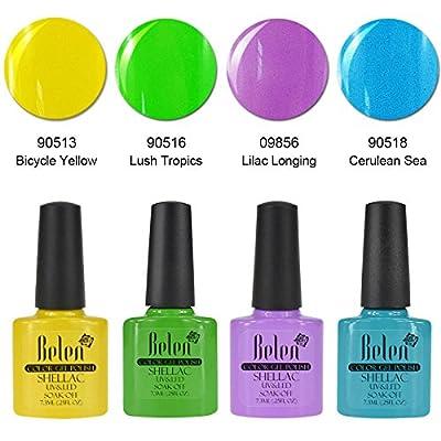 Belen 4PCS Macaron Soak off UV Gel Polish Nail Starter Kit Varnish Salon Set C005